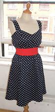 Baylis Knight navy blu pois Estate Sweetheart Pin Up Rockabilly 50's Sun Dress