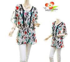 Women PLUS Faux Silk Chiffon Lace Dolman Batwing Cherry Peasant Blouse Shirt Top