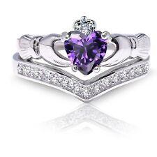 Heart Irish Celtic Amethyst CZ Claddagh Wedding Engagement Silver Two Ring Set