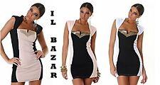vestito donna mini abito corto party rivetti dorati 3 colori taglie S ,M ,L