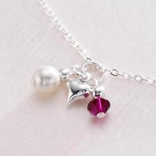 Piedra de nacimiento Corazón y Perla Collar De Cadena Niño/talla adulto