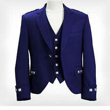 """Men Blue Argyle Kilt Jacket With Waistcoat/Vest - Sizes 36""""R- 54"""" R,S & L Sizes"""