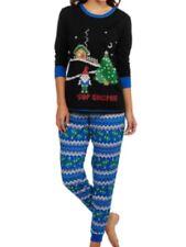 e7913d0e1d Womens Black   Blue Sup Gnomie Holiday Pajamas Christmas Gnome Sleep Set