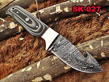 "2 Tone Dollar Wood Winecolor Damascus Full Tang Skinning Blade Gut Hook Knife 8"""