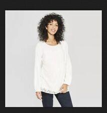 Isabel Women's Maternity White Cream Long Sleeve Lace Babydoll Top Shirt #C-pb62