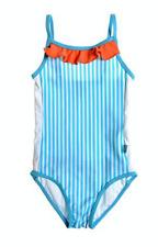 White Soda Girls Blue & White Stripe with Orange Frill One Piece, Swimwear