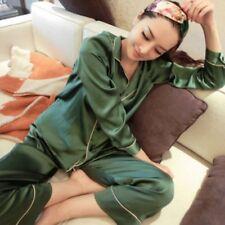 FEMME SATIN SOIE Pyjama bouton manches longues col V uni Vêtement de Loisirs