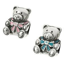 Sterling Silver Enamel Teddy Bear Toy Screw-on Bead for European Charm Bracelets