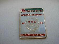 Olympic PIN Fuji Film Official US Oly TEAM Sponsor Vtg LA '84 Wreath w/ Rings
