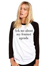 Ask Me About My Feminist Agenda - Feminism Girl Power Womens Baseball Top
