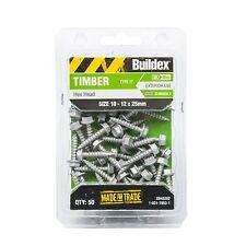 Buildex CLIMASEAL HEX HEAD TIMBER SCREWS 10-12x25mm *AUS Brand- 50Pcs Or 1000Pcs