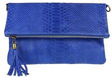 Italian Snake Genuine Suede Folded Clutch Bag Shoulder Strap Handbag Womens
