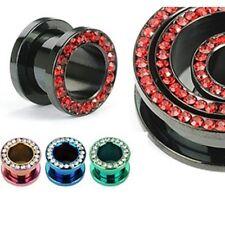 PAIR (2) Titanium CZ Gems Rim EAR PLUGS Screw-Fit PIERCING GAUGES Pick A Color