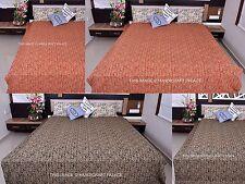 Indian Cotton Bedspread Paisley Kantha Stitch Quilt Throw Blanket Ralli Handmade