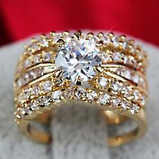 24K GOLD FILLED R191 3WAY LUXURY LAB DIAMOND WEDDING BRIDAL WOMEN SOLID RING SET