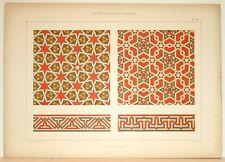 Stampa antica stile arabo MOSAICO del XV secolo 1885 Old Print Arabian Style