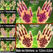 Bollywood Hand Sticker Tatoo Tattoo Handschmuck Strass Henna Fasching Bindis