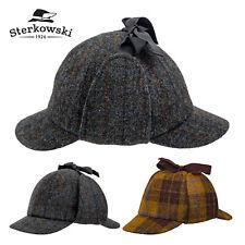 Sterkowski HOLMES Harris Tweed Deerstalker Cap Wool Hunting Sherlock Walking Hat