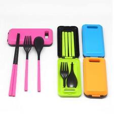 Camping Picnic BBQ Cutlery Set Travel Tableware Fork Spoon Chopstick&Box LC
