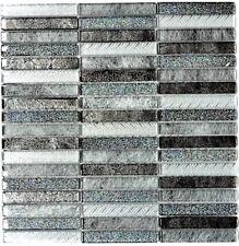 Mosaikfliese Stäbchen Crystal Glasmosaik Day silver - Art: 87-STDS