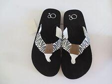 NEW Girl Youth Large *2-3* XL *4-5* OP Zebra Flip Flops Yoga Mat Sandals Junior