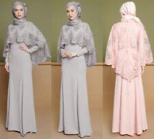 2PCS Muslim Women Embroidery Dress Gown Robe Abaya Islamic Arab Long Maxi Dress