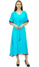 Bimba Womens Long Kaftan Dress With Pom Pom Maxi Caftan Designer Coverup Chic