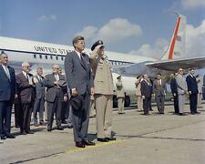 President John F. Kennedy exits Air Force One in Huntsville Alabama Photo Print
