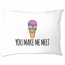 Valentine's Day Pillow Case You Make Me Melt Pun Joke Cute Couples Slogan