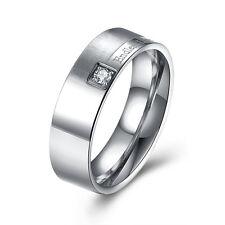Stainless Steel Band Fashion Wedding Ring AAA Zirconia Men's Unisex B472