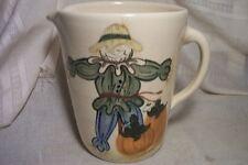 vINTAGE  Pottery water Pitcher scarecrow pumpkins