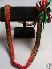 Hawaiian Double Braid Ribbon Leis Graduation red green