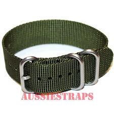 PREMIUM ZULU 3 Ring KHAKI GREEN 20mm,22mm,24mm Military Diver's watch strap band