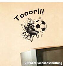 Fussball Tor Aufkleber Wandtattoo Set 40x38cm, S7 Fußball schwarz matt