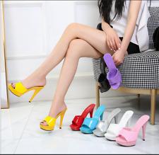 Womens Peep Toe Mules Platform High Heels Sandals Party Clubwear Evening Shoes
