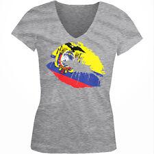 Ecuadorian Flag Colors Ecuador Lipstick Kiss Lips ECU EC Juniors V-Neck T-Shirt
