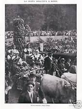 IMMAGINI 1930 ROMA FESTA DELL'UVA  PIAZZA DI SIENA AGRICOLTURA CARRO BUOI VITE