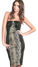 KAREN MILLEN Snake Print Black Satin Strapless Corset Cocktail Party Dress SALE