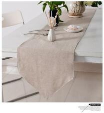 French Minimalist Modern Farmhouse Natural Plain Table Runner Cotton Linen Ecru