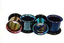 PAIR (2) Single Flared Titanium EAR PLUGS Piercing Gauges Pick A Color 10g-00g