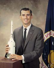 NASA Astronaut Roger Chaffee portrait with model of Apollo spaceship Photo Print