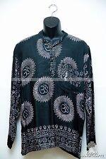 Hippie Om Hare Rama Krishna Yoga Collarless Cotton Kurtha Black Shirt Top Nepal