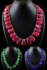 Genuine Single Strand Ruby, Emerald & Sapphire Pear Beads Handmade Necklace
