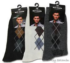 Mens Argyle Diamond Cotton Socks 3/6/12 Mixed Colours UK Size 4-11 Best Fashion