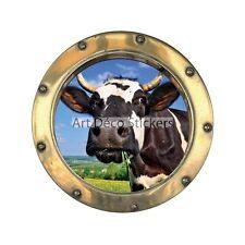 Sticker hublot trompe l'oeil Vache 1408