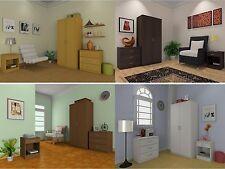 3 Piece Bedroom Set - Wardrobe Chest Bedside - Beech,Espresso,Walnut,White