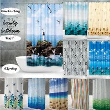 Textil Duschvorhang 240 x 200cm GROßE AUSWAHL Bambus  Leuchtturm Seestern Delfin