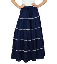 Bimba Frauen langer flaired Baumwollrock blau boho Böden elastische Taillen indi
