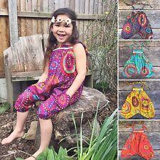 Children's girl's baby harem jumpsuit baggy summer hippy hippie boho 0 - 4 yrs