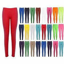 Womens Plain Leggings Ladies Basic Plain Elasticated Jersey Trousers Jeggings